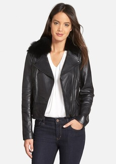 Classiques Entier® 'Brenna' Leather Jacket with Detachable Genuine Toscana Shearling Collar (Regular & Petite)