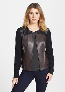 Classiques Entier® Colorblock Leather Front Sweater Jacket