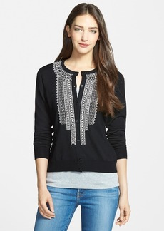 Classiques Entier® Embroidered Crewneck Cardigan