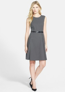 Classiques Entier® 'Mosaic Check' Belted Fit & Flare Dress