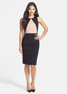 Classiques Entier® 'Reid' Textured Cotton Blend & Ponte Sheath Dress