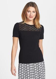 Classiques Entier® 'Salvia' Lace Yoke Short Sleeve Sweater