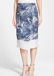 Classiques Entier® Sheer Hem Silk Shantung Wrap Front Skirt (Regular & Petite)