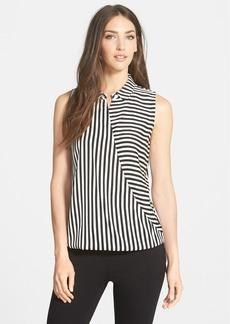 Classiques Entier® Stripe Sleeveless Stretch Silk Surplice Top