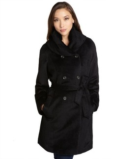 Cole Haan black alpaca double-breasted belted shawl collar coat