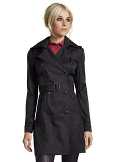 Cole Haan black cotton blend double breasted hooded trench coat
