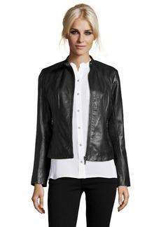 Cole Haan black lambskin zip front jacket