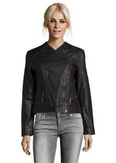 Cole Haan black leather perforated detail asymmetrical zip front jacket