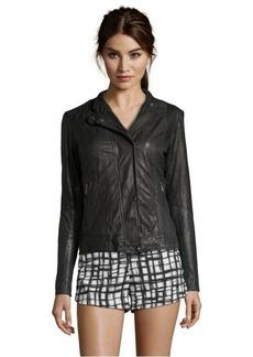 Cole Haan black leather zip front long sleeve jacket