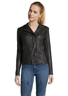 Cole Haan black leather zip front moto jacket