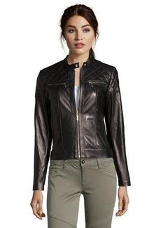 Cole Haan black leather zip front motorcycle jacket