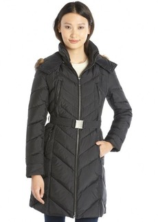 Cole Haan black quilted down filled hooded belted jacket