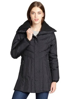 Cole Haan black quilted down filled knit collar puffer coat