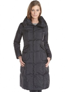 Cole Haan black quilted down filled zip front 3/4 length coat