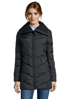 Cole Haan black quilted down zip front 3/4 length puffer jacket