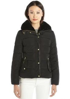 Cole Haan black quilted down zip front jacket