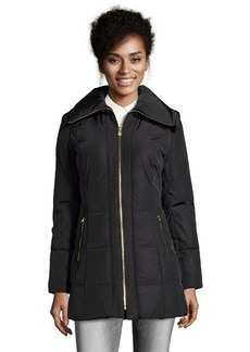 Cole Haan black quilted zip front down filled jacket