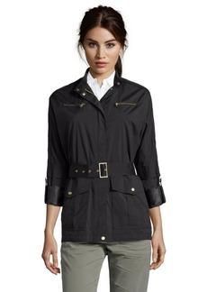 Cole Haan black water resistant dolman sleeve raincoat
