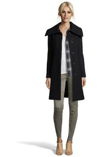 Cole Haan black wook boucle sleeve three quarter coat