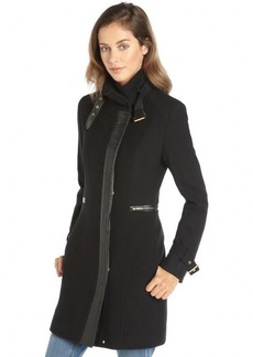 Cole Haan black wool and cashmere faux leather trim 3/4 length coat
