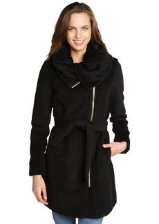 Cole Haan black zip front belted wool oversized collar coat