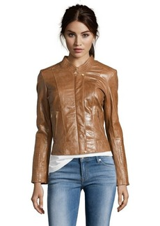 Cole Haan camel leather ribbed sleeve zip front jacket