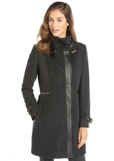 Cole Haan charcoal wool and cashmere faux leather trim 3/4 length coat