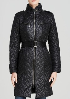 Cole Haan Coat - Signature Quilted Belted Faux Leather Detail