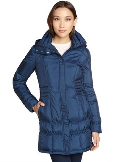 Cole Haan cobalt quilted down filled 3/4 length puffer coat