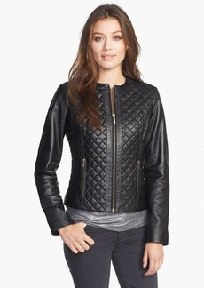 Cole Haan Collarless Quilted Leather Jacket (Petite)