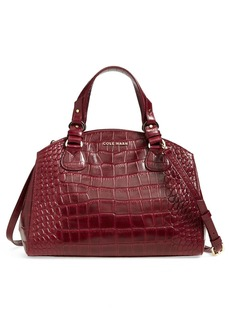 Cole Haan Croc Embossed Leather Dome Satchel