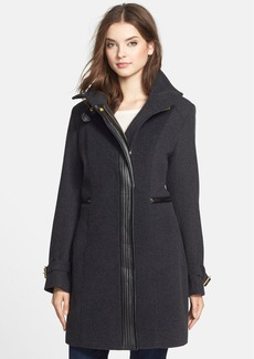 Cole Haan Faux Leather Trim Textured Wool Coat