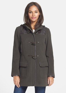 Cole Haan Faux Leather Trim Wool & Cashmere Blend Hooded Duffle Coat