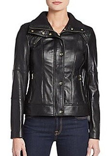 Cole Haan Glossy Leather Zip Jacket