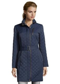Cole Haan ink blue diamond quilted zip front belted coat