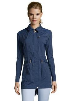 Cole Haan ink blue water resistant packable hooded rain jacket