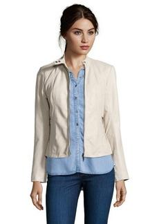 Cole Haan ivory lambskin zip front jacket