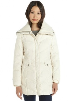 Cole Haan ivory quilted down zip front 3/4 length puffer jacket