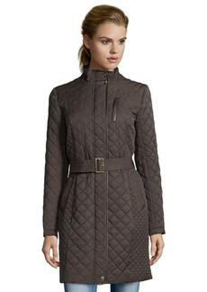 Cole Haan java brown diamond quilted zip front belted coat