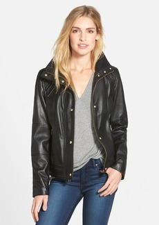 Cole Haan Knit Collar Lambskin Leather Bomber Jacket