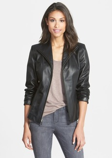 Cole Haan Lambskin Leather Scuba Jacket (Petite)