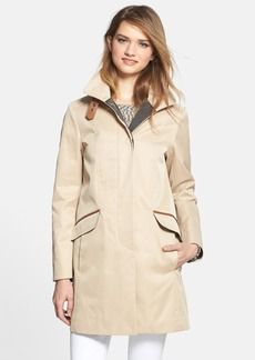 Cole Haan Leather Trim A-Line Coat
