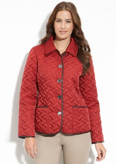 Cole Haan Leather Trim Quilted Jacket (Petite)