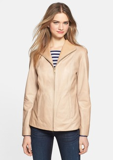 Cole Haan Leather Wing Collar Coat (Petite)