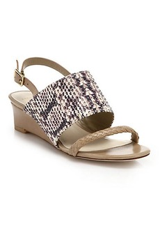 Cole Haan Lise Leather & Snake-Embossed Leather Wedge Sandals