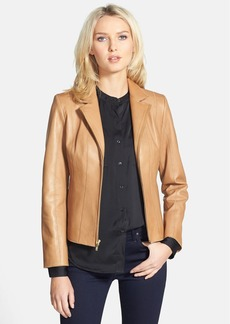 Cole Haan Notch Collar Lambskin Leather Jacket