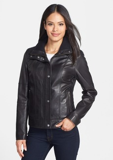 Cole Haan Quilt Detail Lambskin Leather Jacket