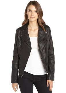 Cole Haan saddle leather asymmetrical zip front moto jacket