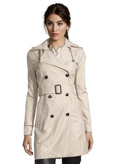 Cole Haan sand cotton blend double breasted hooded trench coat