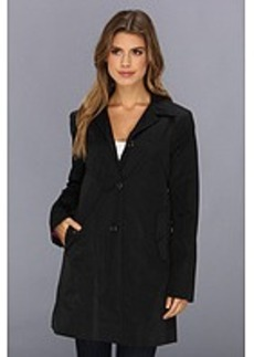 Cole Haan Single Breasted Raincoat With Button Closure & Center Back Pleat